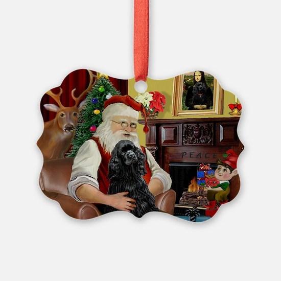 Santa's Black Cocker Ornament