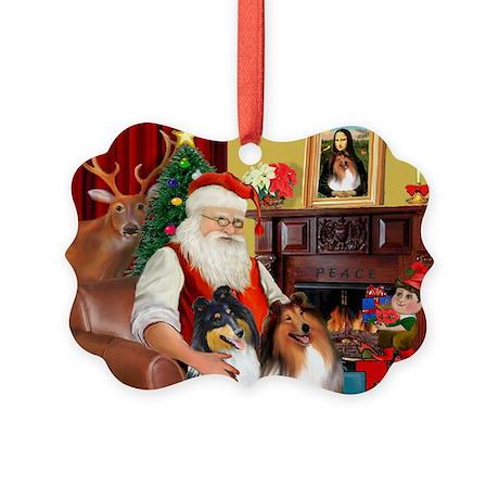 Santa's Collie pair Picture Ornament