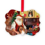 Santa's Collie Picture Ornament
