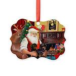 Santa's 2 Doxies (blk) Picture Ornament