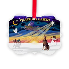 XmasSunrise/Dobie (red) Ornament
