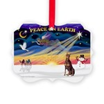 XmasSunrise/Dobie (red) Picture Ornament
