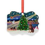 Xmas Magic/Red Dobie Picture Ornament