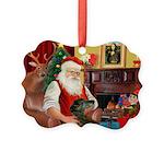 Santa's Greyhound Picture Ornament