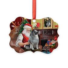 Santa/Keeshond Ornament