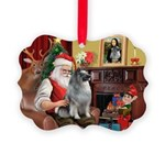 Santa/Keeshond Picture Ornament