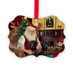 Santa's 2 Black Labs Picture Ornament