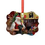 Santa's Black Lab Picture Ornament