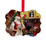Santa's Yellow Lab #7 Picture Ornament