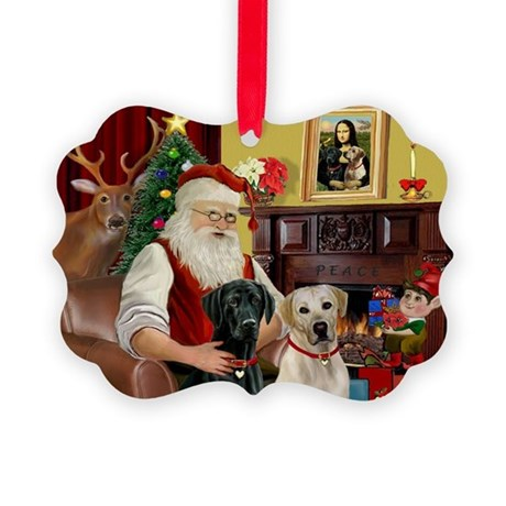 Santa's 2 Labs (Y+B) Picture Ornament