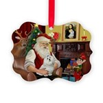 Santa's Maltese Picture Ornament