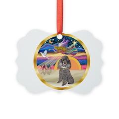 XmasStar/Silver Poodle #8 Ornament