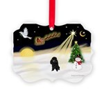 Night Flight/Poodle (min) Picture Ornament