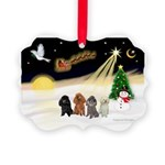 Night Flight/4 Poodles Picture Ornament
