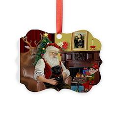 Santa's Black Pug Ornament