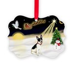 Night Flight/Rat Terrier Picture Ornament