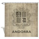 Vintage Andorra Coat Of Arms Shower Curtain