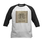 Vintage Andorra Coat Of Arms Kids Baseball Jersey