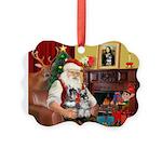 Santa's 2 Schnauzers Picture Ornament