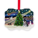 XmasMagic/ Min Schnauzer Picture Ornament