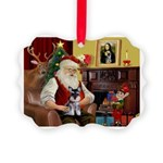 Santa's Schnauzer pup Picture Ornament