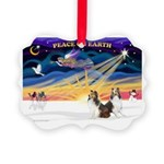 XmasSunrise/ 2 Shelties (dl) Picture Ornament