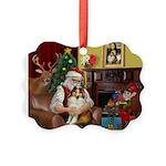 Santa's Sheltie (SW) Picture Ornament