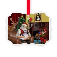 Santa's Shih Tzu (#1) Picture Ornament