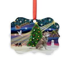 Xmas Magic & Red Husky Ornament