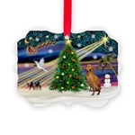 Xmas Magic & Vizsla Picture Ornament