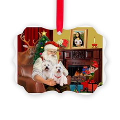 Santa's Westie pair Ornament