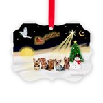 Night Flight/5 Yorkies Picture Ornament