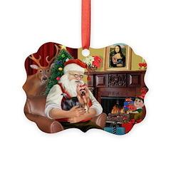 Santa / Yorkie (#9) Ornament