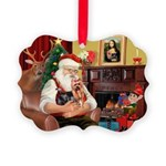 Santa / Yorkie (#9) Picture Ornament