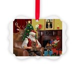 Santa's Yorkie (#11) Picture Ornament