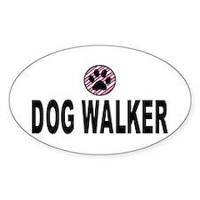 Dog Walker Pink Stripes Oval Decal
