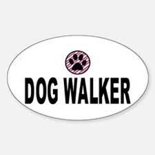 Dog Walker Pink Stripes Oval Decal