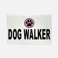 Dog Walker Pink Stripes Rectangle Magnet