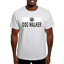 Dog Walker Pink Stripes Ash Grey T-Shirt