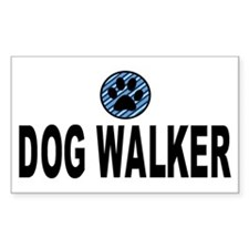 Dog Walker Blue Stripes Rectangle Decal