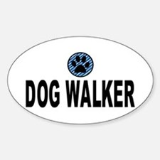 Dog Walker Blue Stripes Oval Decal