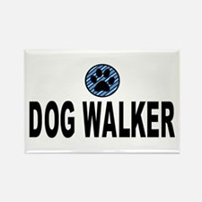 Dog Walker Blue Stripes Rectangle Magnet