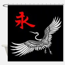 Eternal Crane (silver) Shower Curtain