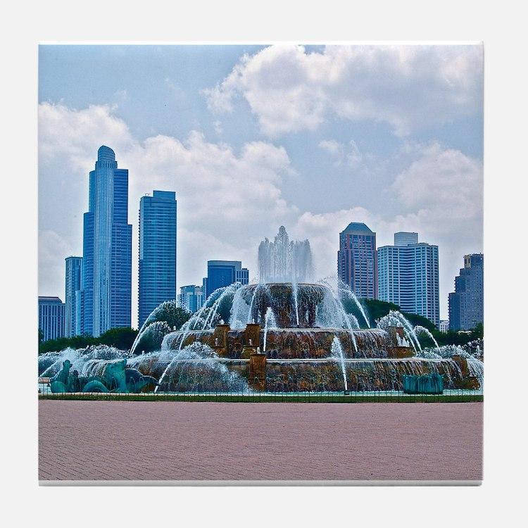 Fountain in Grant Park Chicago Tile Coaster