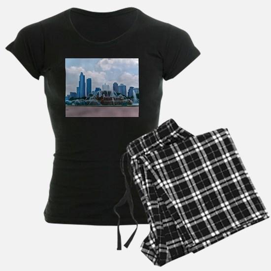 Fountain in Grant Park Chicago Pajamas