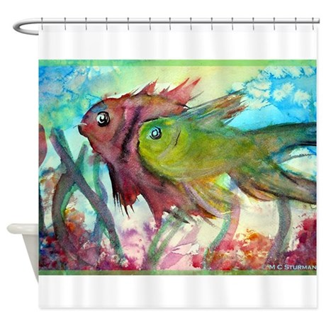 Tropical fish colorful art shower curtain by mc2fish for Tropical fish shower curtain