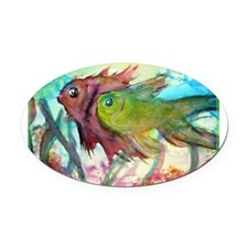Tropical fish! Colorful art! Oval Car Magnet