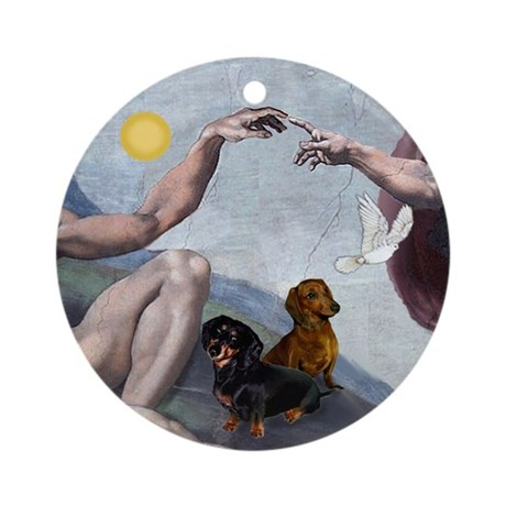 Creation: Two Dachshunds Ornament (Round)