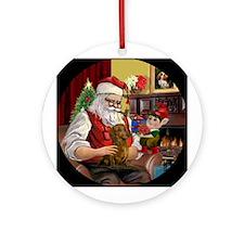 Santa's Dachshund (brn-red) Ornament (Round)
