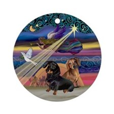 Xmas Angel-Two Dachshunds Ornament (Round)